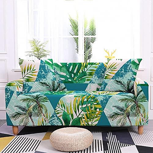 WXQY Funda de sofá de Hojas de Flores Tropicales Funda Protectora de sofá elástica Moderna Funda de sofá Antideslizante Envuelta herméticamente A4 2 plazas