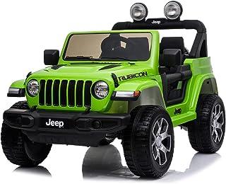 Jeep elektrische kinderauto - Wrangler - Groen - mp3 speler - rubberen wielen