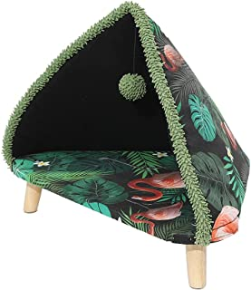 PaWz Cat Beds with Tent Tree Raised Elevated Heavy Duty Wooden Detachable Green