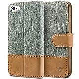 BEZ Hülle für iPhone SE Hülle, Handyhülle Kompatibel für iPhone SE 5 5S Hülle, Handytasche Schutzhülle Tasche [Stoff & PU Leder] mit Kreditkartenhaltern - Grau