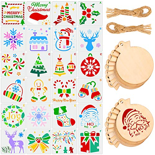 Whaline 44 pcs Christmas Painting Set Drawing Stencils Templates 24 Design, 20 Christmas Wooden Tag with Rope, Christmas Wooden Slices, Reusable Plastic Templates for DIY Craft Window Floor Tile Decor