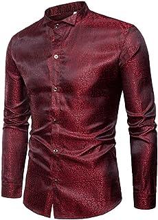 6c612991d9 NANSHIZSCS Camicia da uomo Camicia Elegante In Raso Di Seta Da Uomo Camicia  A Maniche Lunghe