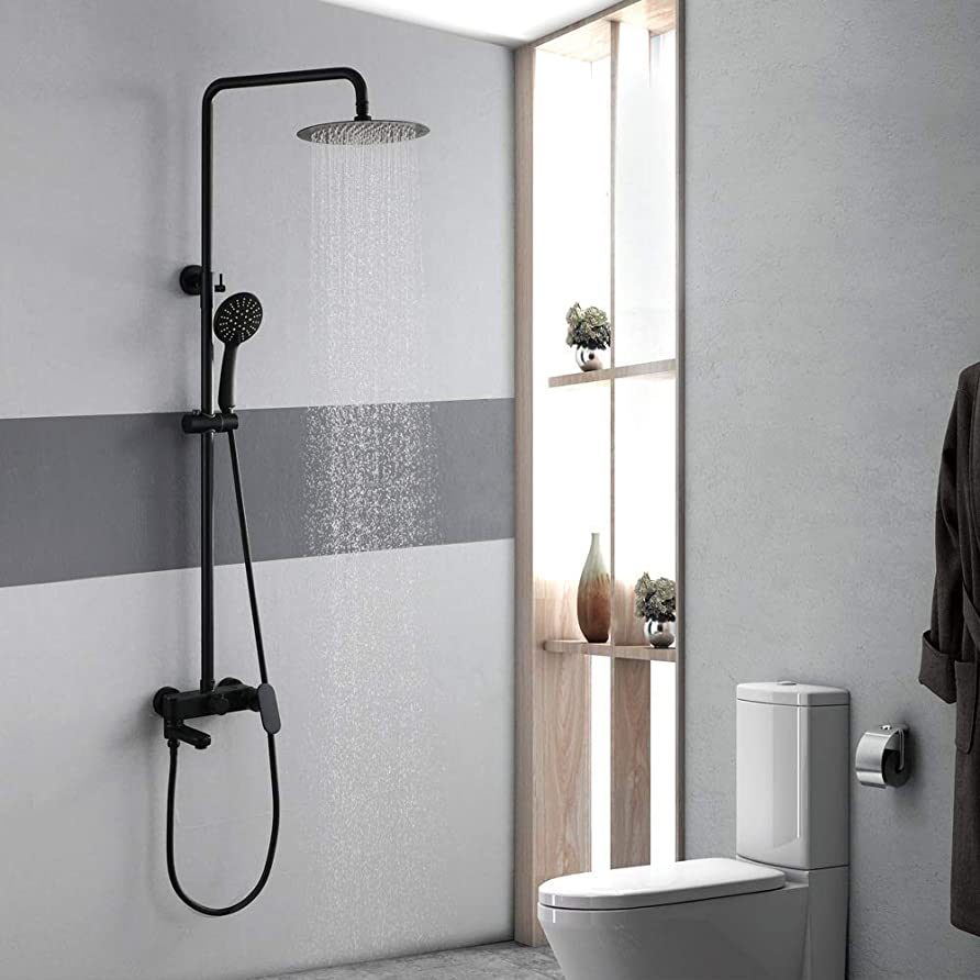 関税克服する欠員BZM-ZM 実用的な現代浴室のシャワーセットハンドシャワーシステム真ちゅう製10インチラウンドトップスプレーブラック温水シャワーヘッド3機能蛇口ノズル美しいです