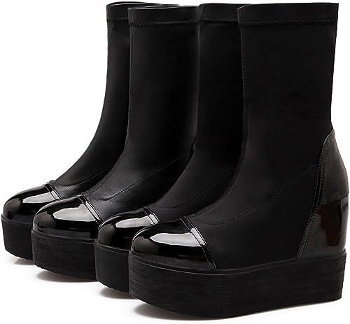 DYF schuhe Stiefel Cortas de Gran tamaño Inferior Grueso de Farbe sólido Liso Cosido