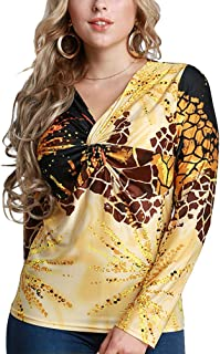 Women's Sexy V-neck Shirts Leopard Print Slim Long Sleeve Tops Clothes Size 6XL