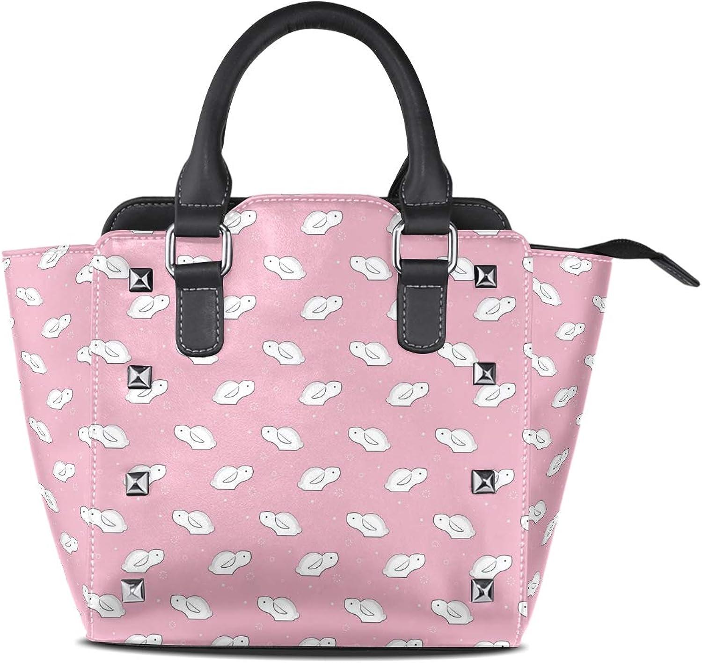 Women's Top Handle Satchel Handbag Little White Rabbit Pink Ladies PU Leather Shoulder Bag Crossbody Bag