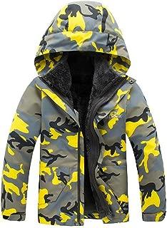 Mallimoda Boys Girls Windbreaker Fleece Jackets Hooded Rain Coat Outdoors