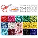 Cuentas de Cristal para Los niños DIY Pulseras Collares y Joyería-Making, 3mm Mini Regalo Cadena Cadena de Cuentas de Fabricación de Juego(15 Colores)