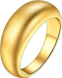 خاتم U7 جوليري سميك على شكل قبة مكتنزة للنساء 18 قيراط مطلية بالذهب خواتم تكديس حجم 7-12، حزمة هدية