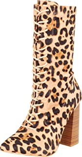 Cambridge Select Women's Pointed Toe Lace-Up Chunky Stacked Flared Block Heel Ankle Bootie