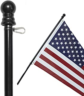 American Signature 5 ft Aluminum Tangle Free Spinning Flag Pole with Carabiners - New Enhanced Design Outdoor Wall Mount Flagpole for Residential or Commercial (Black, 5`)