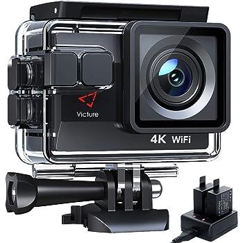 Victure Action Cam 4K WiFi 170° Fotocamera grandangolare Impermeabile 40 m Fotocamera Subacquea 20 MP Ultra Full HD Sport Action Camera con Caricatore 2 batterie e Accessori Inclusi