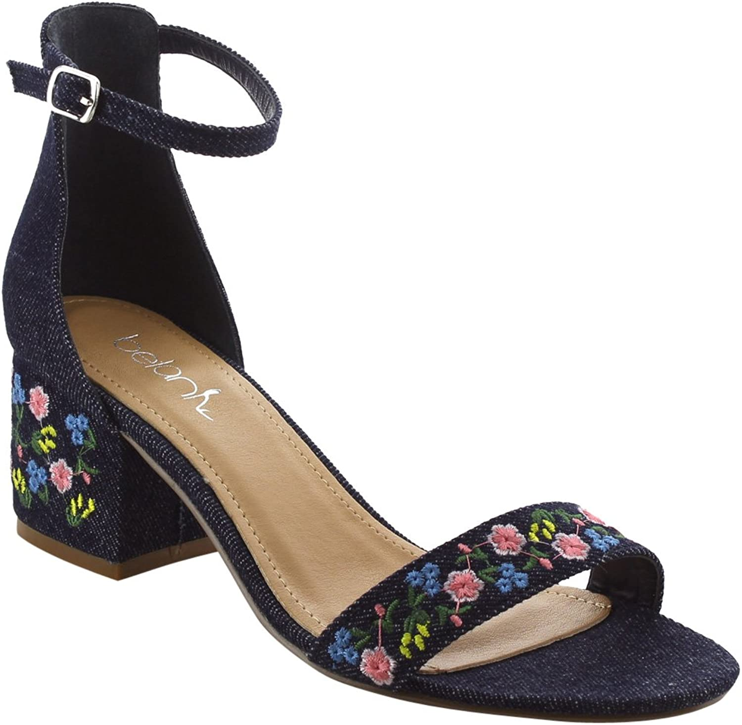 BETANI FK45 Women's Embroidered Buckled Ankle Strap Block Heel Sandals