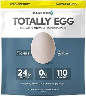 Designer Protein Totally Egg, Classic Vanilla, 12.4 Oz, Paleo and Keto friendly Egg White & Yolk Protein Powder