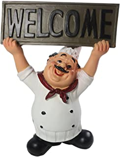 KiaoTime 15016C Italian Chef Figurines Kitchen Decor with Welcome Sign Board Plaque Home Kitchen Restaurant Decor 8