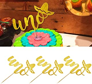 Professional 3pcs Uno Mexico Cake Topper Party Decorations Cupcake Toppers Shiny, Baby Shower Cake - Wedding Cake, Movie Decorations, Bridal Shower, Black Graduation, Lot Clowns