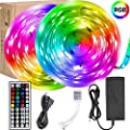 Led Strip Lights,UMICKOO LED Lights 32.8ft 10m Color Changing with SMD 5050 RGB 300 LEDs Light Strips and 44 Keys IR Remote 12V Power Supply for Home, Bedroom, Kitchen, Christmas