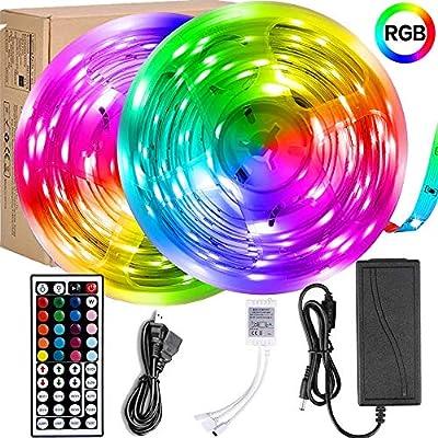 Led Strip Lights,UMICKOO LED Lights 32.8ft 10m Color Changing with SMD 5050 RGB 300 LEDs Light Strips and 44 Keys IR Remote 12V Power Supply for Home, Bedroom, Kitchen, Christmas