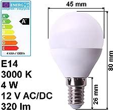 warmweiß 3000K 320lm Birne Energiesparlampe Volt Leuc... LED Lampe E14 12V 4W A