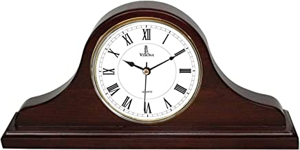 Mantel Clock, Silent Decorative Wood Mantle Clock Battery Operated, Wooden Design for Living Room, Fireplace, Office, Kitchen, Desk, Shelf & Home Décor Gift - 15x7.5 Inch