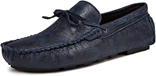 XinQuan Wang Men Driving Loafers Casual Comfortable Soft Light Tassel Boat Moccasins (Color : Blue, Size : 5.5 UK)