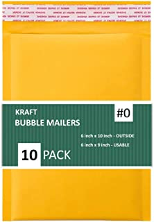 Sales4Less #0 Kraft Bubble Mailers 6X10 Inches Shipping Padded Envelopes Self Seal Waterproof Cushioned Mailer 10 Pack