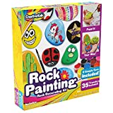 Rock Painting Outdoor Activity Kit for Kids – DIY Art Set w/ 10 Hide and Seek Stones, 12 Acrylic Paint Tubes & 2 Brushes – Fun Googly Eyes, Easy Transfer Design for Boys & Girls (Toy)