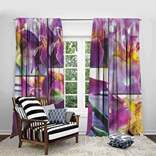 FOEYESEE Room Darkening Curtains Rustic Blooming Iris Flowers Orchids on Rustic Wood Natural Floral Beauty Romantic Image Yellow Purple Cartoon Printed Nursery Room W84 xL84