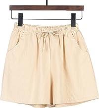Xiaorong Dames katoenen shorts met zakken Casual Baggy Brede Been Comfortabel Kort met Trekkoord Elastische Taille