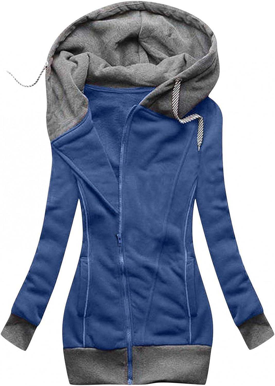 ManxiVoo Women's Zipper Hoodie Long Sleeve Hooded Color Blocking Sweatshirts Pockets Jacket Coat