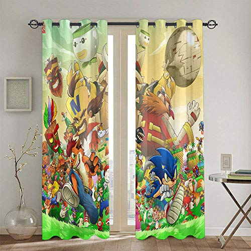 Cortinas para salón y dormitorio Sonic the Erizo cortinas decorativas para habitaciones de niños 160 x 182 cm
