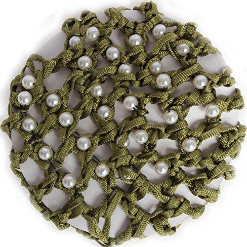 JUSTFOX - Dutt Netz Haarnetz Bun Frisurenhilfe Stoff Knotennetz grün mit Perlen
