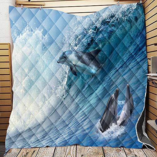 Chickwin Tagesdecke Bettüberwurf Gesteppt, 3D Tier Drucken Mikrofaser Tagesdecke Schlafzimmer Steppdecke Decke Überwurf Wohnzimmer Sofaüberwurf für Einzelbett Doppelbett (Delphin 9,130x150cm)