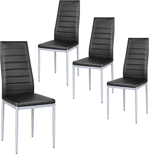 new arrival Giantex outlet online sale Set of 4 PU Leather Dining Side Chairs with Padded online sale Seat Foot Cap Protection Stable Frame Heavy Duty High Back Design Dining Chairs for Kitchen Dining Room Home Furniture, Black online
