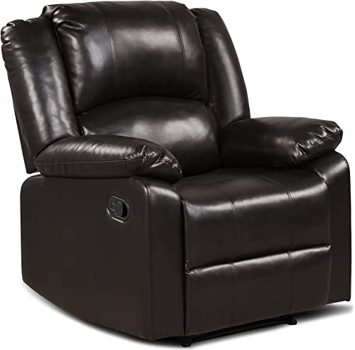high quality Giantex Recliner Chair PU Leather Recliner Sofa, outlet online sale Overstuffed Reclining Chair Manual Recliner Chair w/Wide Armrests, Modern Home Theater Seating, Adjustable Single Sofa Chair online sale for Living Room (Brown) sale