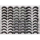 PLEELL 30 Pairs False Eyelashes 6 Styles Fluffy Volume Fake Lashes 15-20MM Long Faux 3D Dramatic Mink Lashes Pack