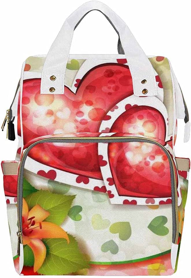 InterestPrint Diaper Backpack Large Waterproof Baby Bags with Insulated Pockets Valentine's Day Heart