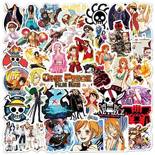 SDUYTEG One Piece Anime Sticker Laptop Botella de Agua Equipaje Guitarra Pegatina Impermeable Durable Vinilo Graffiti Calcomanía Adecuado para niños, Adolescentes y Adultos