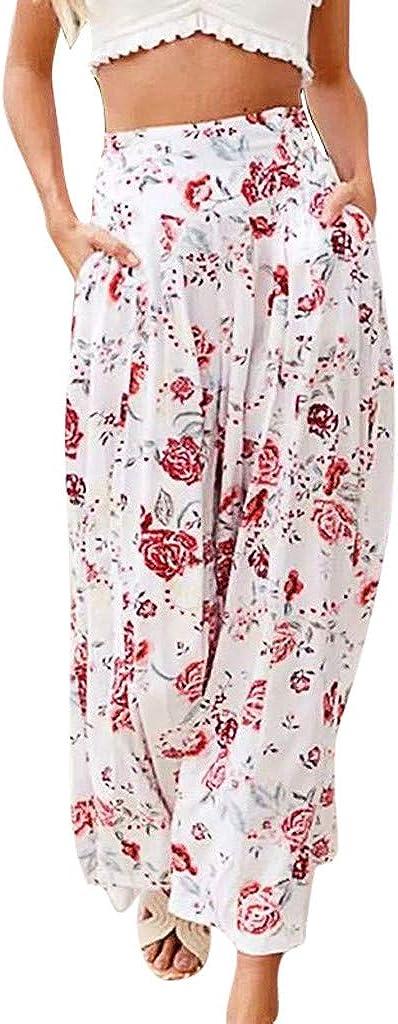 Litetao Women Comfy Pocket Casual Holiday Wide Leg Pants Casual Floral Print Bohemia Summer Casual Beach Hippie Pants