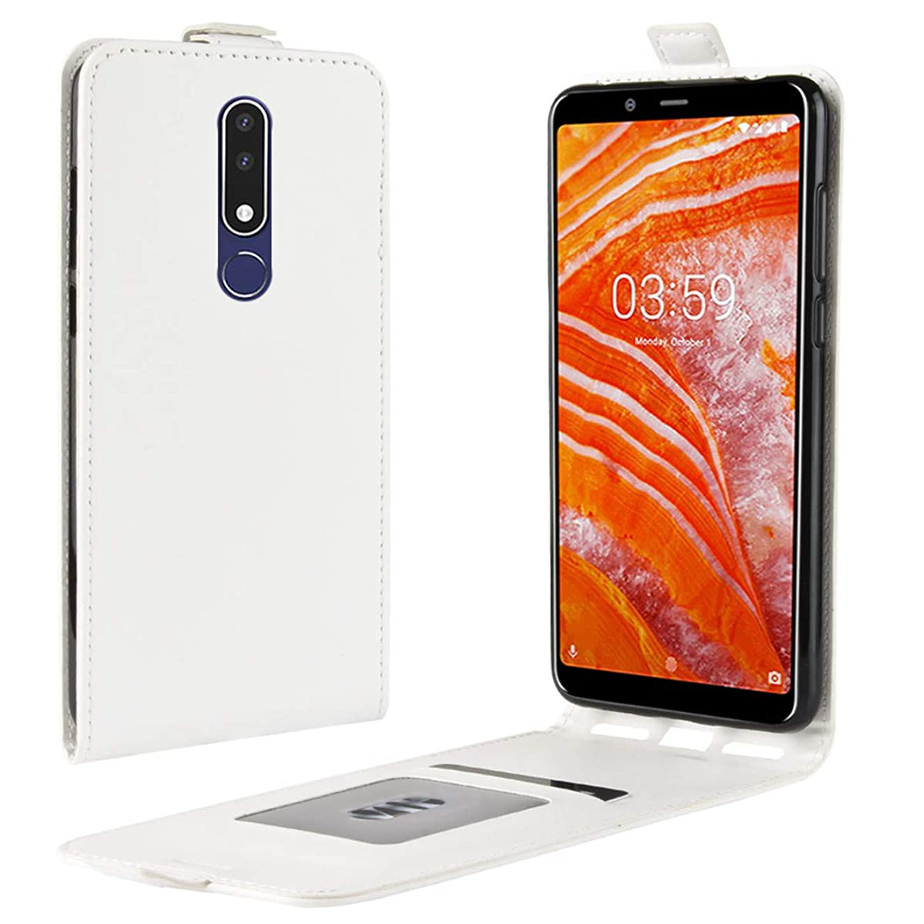 Nokia 3.1 Plus Case, Gift_Source Magnetic Closure Vertical Flip Folio PU Leather Case Up-Down Open Protective Cover Built-in Card Slots for Nokia 3.1 Plus (6.0 inch) [White]