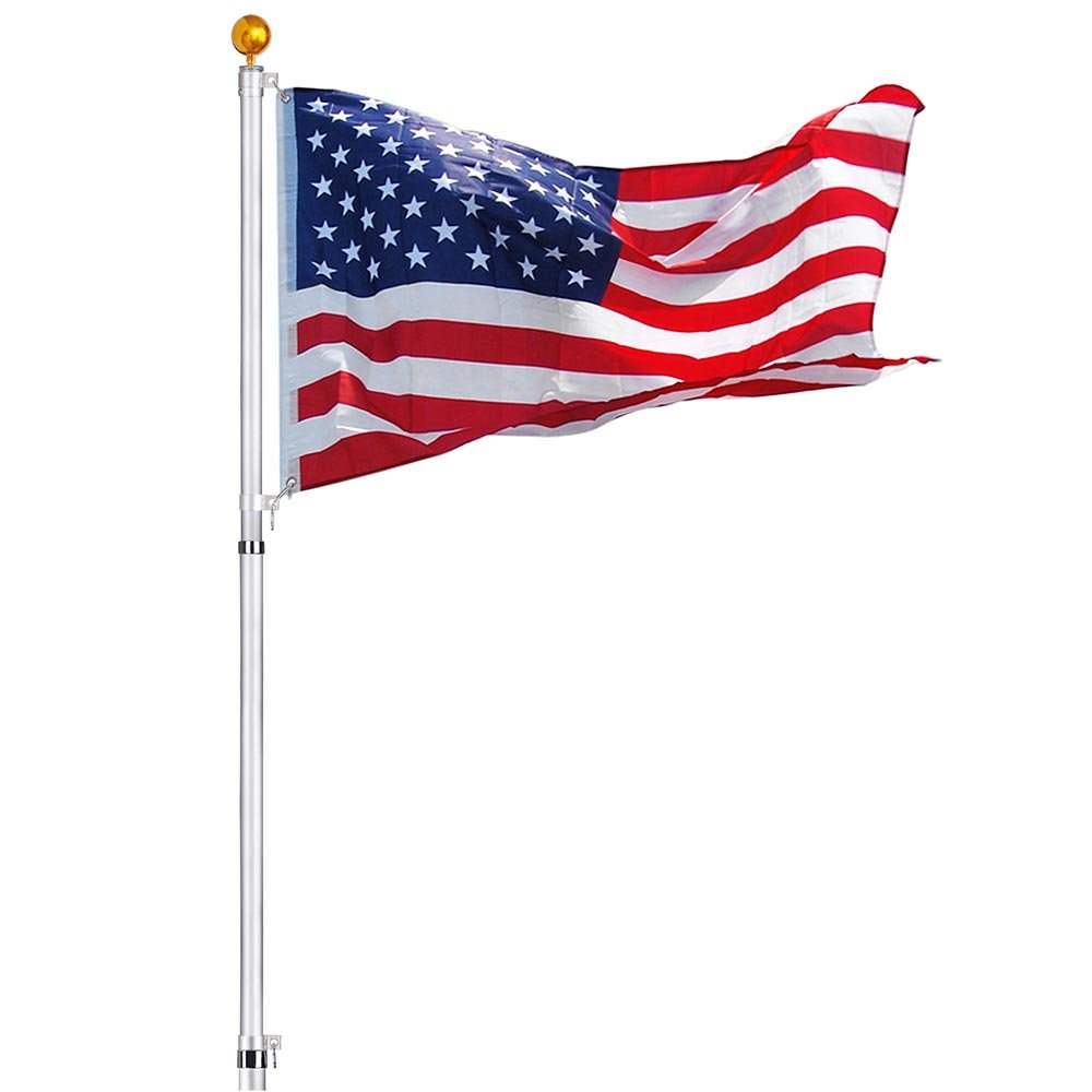 21 FT EZ pole Flag Pole  Residential No Furl Tangle Free Telescoping Flagpole