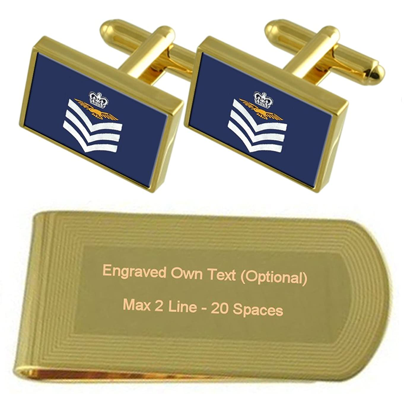 ナット呼吸する自治的RAF エアフォースワン Insignia ランク飛行軍曹搭乗員ゴールドトーン カフスボタン お金クリップを刻まれたギフトセット