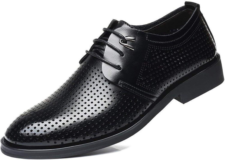 2018 Handmade Men's Sandals Breathable Hollow shoes Men's Casual Hole Cool shoes Men's Leather Sandals (color   Black, Size   39)
