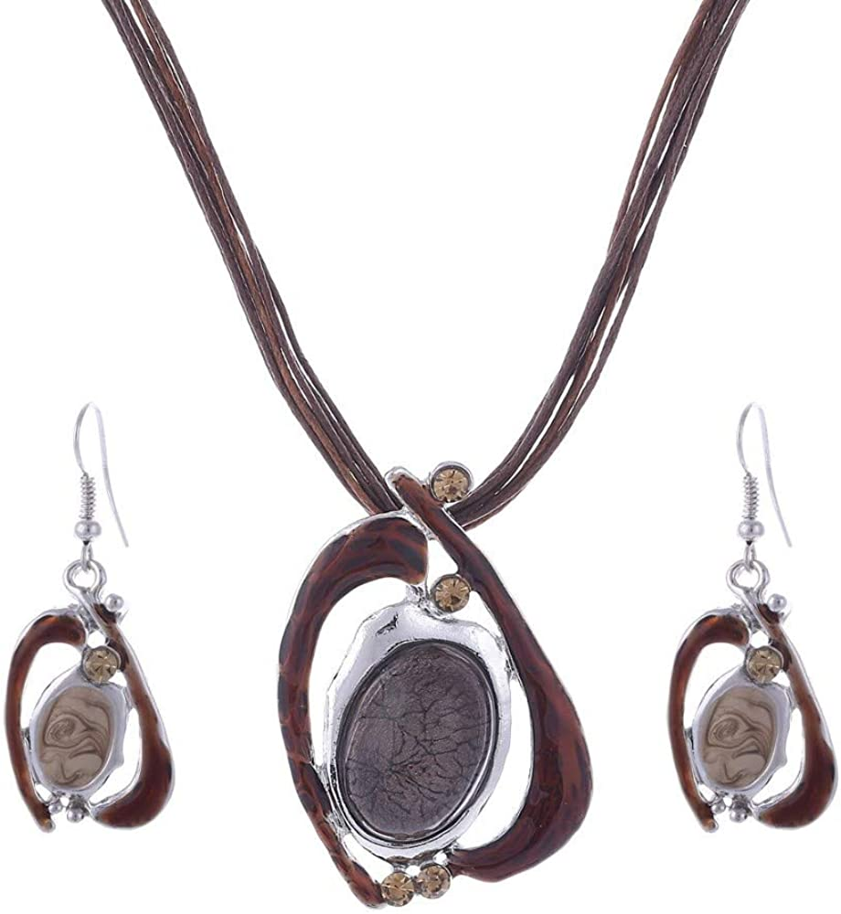 Vintage Boho Jewelry Enamel Jewelry Statement Necklace Set Earrings For Women Big Stone Jewelry Sets Oval Nickel