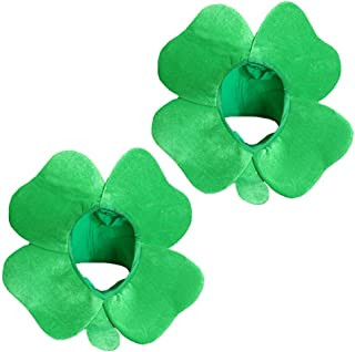 DALJIAFA St. Patrick's Day Top Hat Clover Shamrock Party Hats Women Four Leaf Green Leprechaun Headpiece Caps Unisex Holiday Carnival Party Decoration Cosplay Costume Irish Day Accessories 2 Pack