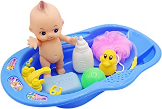 FunPa Baby Bath Toy Set Baby Doll Pretend Play Toy Bathtub Toy Water Toy for Kids