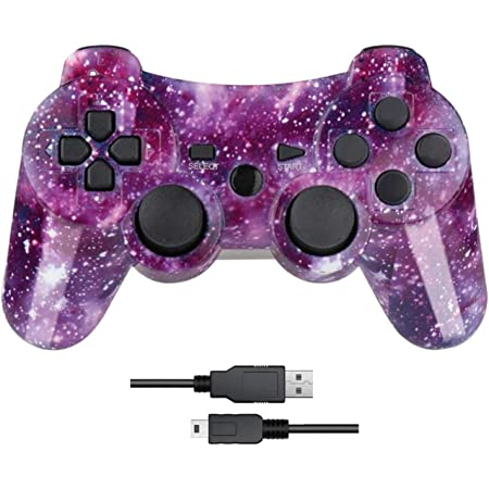 Nuilhpn PS3 Controller with Dual-Vibration Joysticks,Wireless Game Controller Compatible with Sony Playstation 3 with Charging Cord(Galaxy).