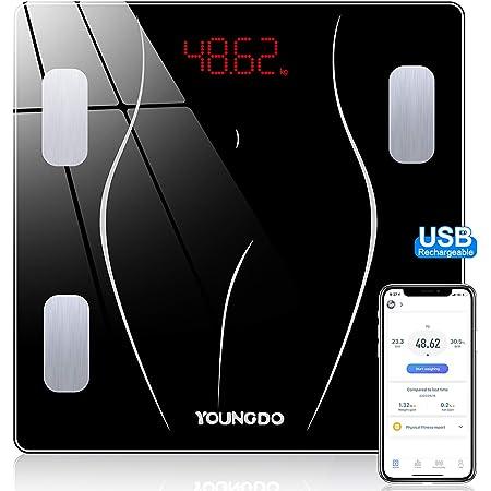 YOUNGDO Bilancia Impedenziometrica 30 * 30, Bilancia Pesapersona Digitale Carica USB con 23 Dati (BMI/BFR/Acqua/Muscolo/BMR ECC), Bilancia Pesapersone Impedenziometrica per 999 utenti