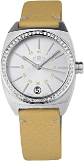 Ladies Italian Designed M.O.M. Primadonna Stones Stainless Steel with Sliver Dial, Swarovski Crystal Bezel and Yellow Leather Strap Quartz Watch PM7500-0126