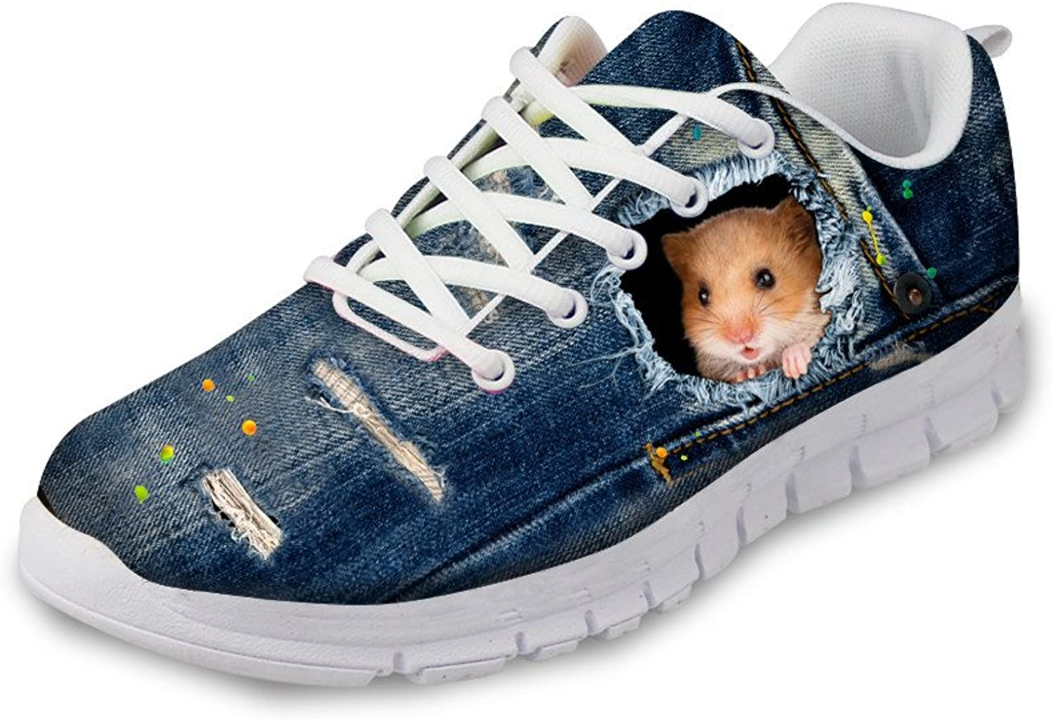 Chaqlin Denim bluee Running shoes 3D Animals Pattern Women Men Flat Mesh Sneakers
